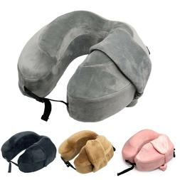 Allgala Memory Foam Contoured Travel Neck Pillow with Matchi