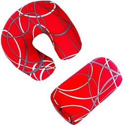 Bookishbunny 2pcs Micro Bead Set U Shaped Neck Travel Pillow
