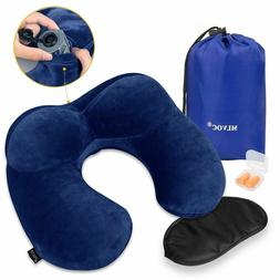 MLVOC Neck Pillow Inflatable Travel with Ear Plugs Eye Mask