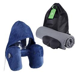 Neck Support Travel Pillow and Blanket 51 x 67inch Super Sof