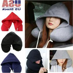 NEW Hoodie Travel Pillow Soft Hooded U Cushions Travel Pillo