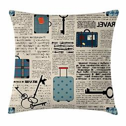 Ambesonne Old Newspaper Decor Throw Pillow Cushion Cover, Re