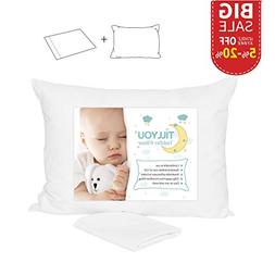 TILLYOU Hypoallergenic Toddler Pillow with Pillowcase, Machi