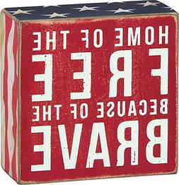 Primitives by Kathy Patriotic Box Sign, 4 x 4, Home of The F