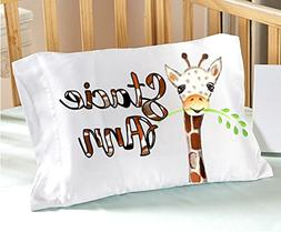 Personalized Watercolor Giraffe Kids Pillowcase  Watercolor