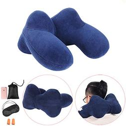 FMAB Travel, 4 Hump Inflatable Pillow with Ear Plugs, Eye Ma