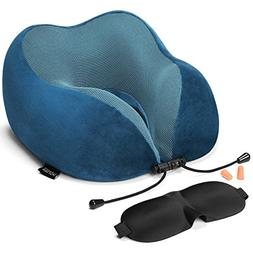 HOMIEE Travel Pillow, Memory Foam Neck Pillow, 360° Head &