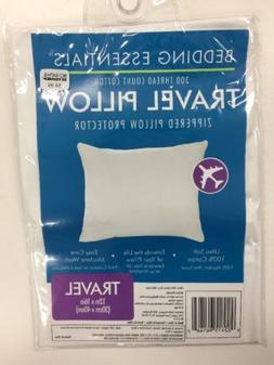 New! 2 x Bedding Essentials Travel Pillow Zippered Protector