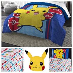 Pokemon Complete 5 Piece Microfiber Bedding Comforter Set -
