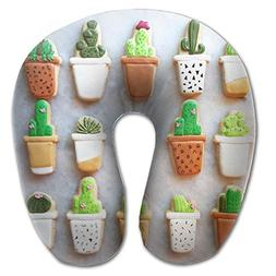 Potted Cactus U-shaped Travel Pillow Full All Over Print Sup