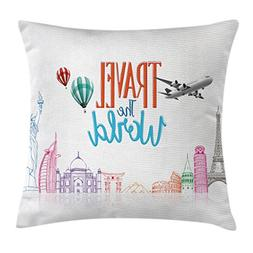 Ambesonne Quote Decor Throw Pillow Cushion Cover, Travel The