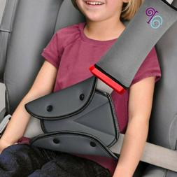 Seat Belt Pillow and Adjuster with Clip for Kids Travel Neck