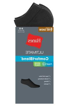 Hanes Men's 6-Pack No-Show Socks, Black, Sock Size:10-13/Sho