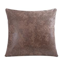 WFLOSUNVE Soft Faux Leather Square Decorative Throw Pillow C