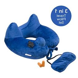 Longfit Soft Velvet Inflatable Travel Neck Pillow with Built