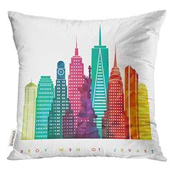 Emvency Throw Pillow Cover NYC New York City United States o
