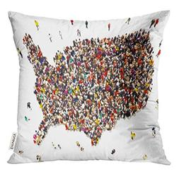 UPOOS Throw Pillow Cover People Coming to America Large Grou