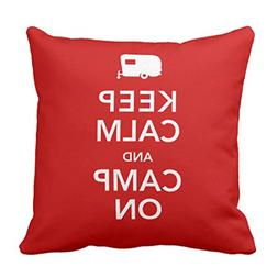 Emvency Throw Pillow Cover Vintage Carry Keep Calm and Camp