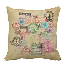 Emvency Throw Pillow Cover Travel Vintage Passport Vacation