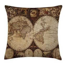Ambesonne Travel Throw Pillow Cushion Cover, Old World Map D