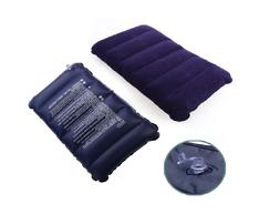 Travel Air Cushion Rest Pillow Dark Blue Inflatable Bed Prot