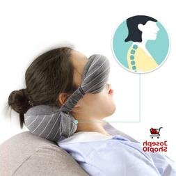 Travel Comfortable Body Neck Pillow 2 In 1 Grey With Eye Mas