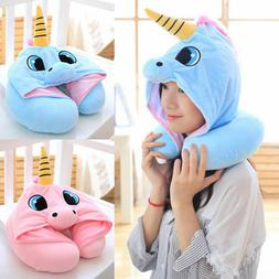 Travel Neck Pillow Cute Unicorn Shading Hoodie U Soft for Bo