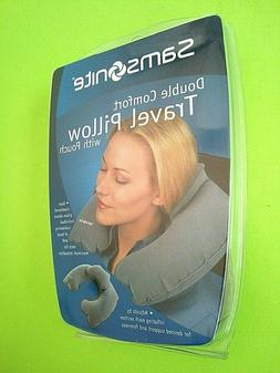 SAMSONITE TRAVEL PILLOW, DOUBLE COMFORT w/POUCH - NEW - FREE
