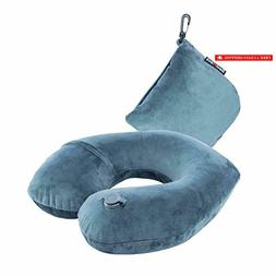 Kmall Travel Pillow for Airplanes Portable Blowing Neck Pill