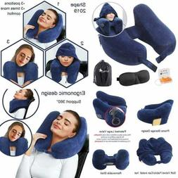 Travel Pillow Inflatable Neck Airplane W Comfortable Hood Su