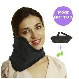 Travel Pillow Set : 100% Cotton Travel Neck Pillow with Memo