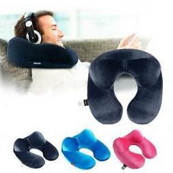 U-Shape Travel Pillow for Airplane Inflatable Neck Pillow Tr