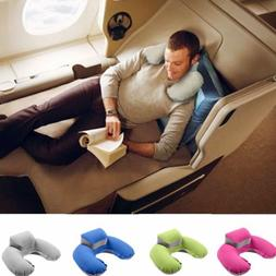 U-shaped Inflatable Neck Support Pillow Nap Headrest Great f