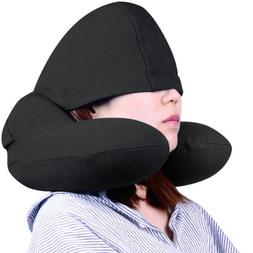 Tuban U-Shaped Inflatable Portable Pillow with Hat Travel Be