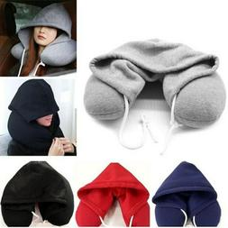 U Shaped Travel Pillow Hoodie Pillow Soft Hooded Car Cushion