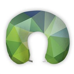 JessPad U-Shape Travel Pillow Dark Green Triangle Puzzle Mem