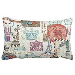 UOOPOO Vintage World Travel Icons Throw Pillow Case Square 1