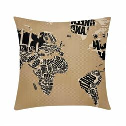 vintage world map beach travel cushion cover